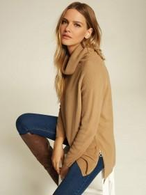 Womens Camel Roll Neck Side Zip Jumper