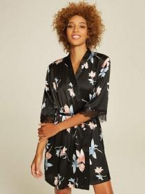 Womens Black Floral Kimono