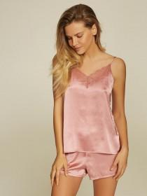 Womens Pink Satin Cami and Short Set