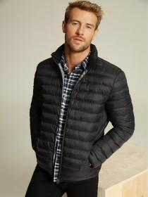 Mens Black Padded Funnel Neck Jacket