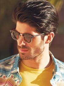 Mens Brown Retro Sunglasses
