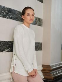Womens White Tie Side Jumper