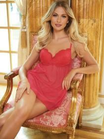 Womens Red Lace Babydoll