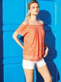 Womens Coral Lace Bardot Top