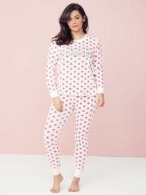 Womens Pink Heart Slogan Pyjama Set Womens Pink Heart Slogan Pyjama Set 570fa3d47