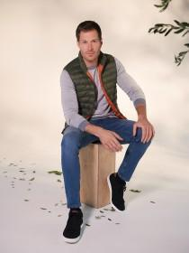 Mens Khaki Padded Gilet Jacket