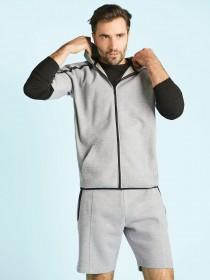 Mens Grey Zip Detail Shorts
