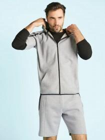 Mens Grey Short Sleeve Hoody