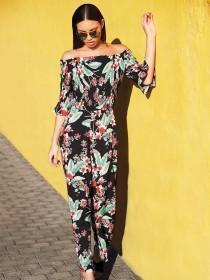 Womens Black Floral Bardot Jumpsuit