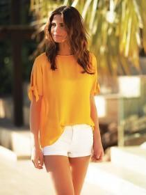 Womens Orange Tie Sleeve Top