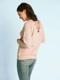 Womens Pink Cross Back Sweater