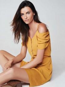 Womens Mustard Cold Shoulder Button Up Dress