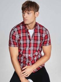 Mens Dark Red Short Sleeve Check Shirt