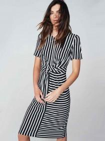Womens Monochrome Stripe Twist Dress