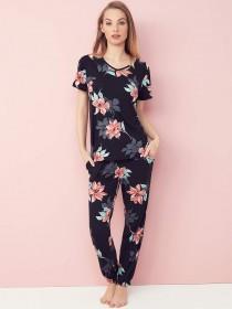 b511145447 ... Womens Black Floral Short Sleeve Pyjama Top