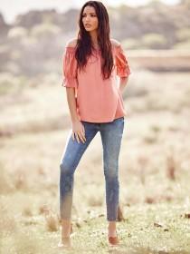 Womens Rust Bardot Top