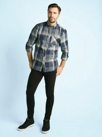 Mens Blue Check Flannel Shirt