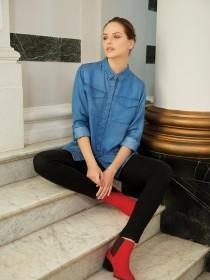 Womens Blue Roll Sleeve Shirt