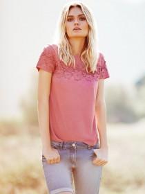 Womens Pink Lace Panel T-Shirt