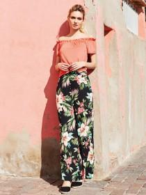 Womens Black Tropical Wide Leg Trousers