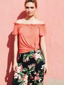 Womens Coral Bardot Top