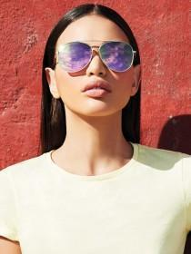 Womens Silver Aviator Sunglasses