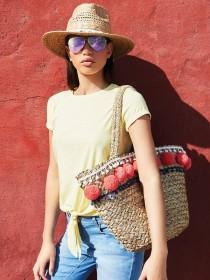 Womens Pom Pom Detail Straw Beach Bag