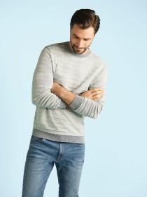 Mens Light Blue Striped Jumper