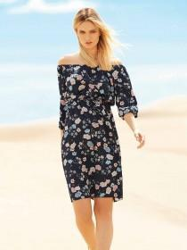 Womens Blue Floral Bardot Tie Waist Dress