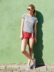 Womens Red Denim Shorts
