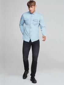 Mens Light Blue Denim Shirt