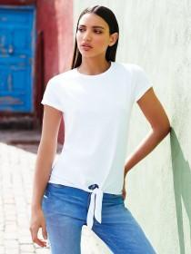 Womens White Tie Front T-Shirt