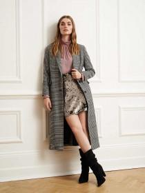 Womens Monochrome Check Long Line Coat