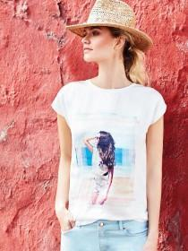 Womens White Photo Print T-Shirt