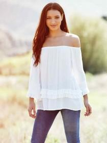 Womens White Long Sleeve Ruffle Bardot Top