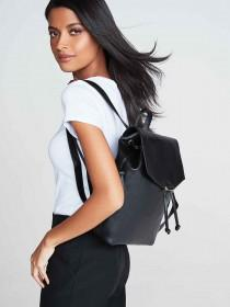 Womens Black Fold Over Rucksack