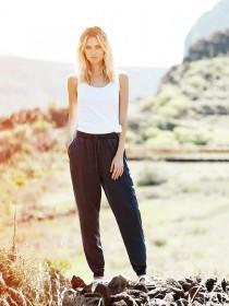Womens Navy Tencel Trousers