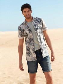 Mens Blue Tropical Print Shirt