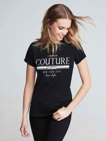 Womens Black Embellished Slogan T-Shirt