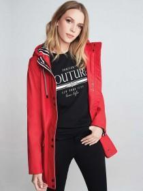 Womens Red Rubber Mac Jacket