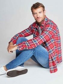 Mens Red Check Flannel Long Sleeve Shirt