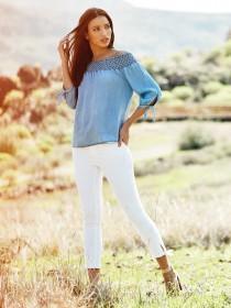 Womens Millie White Tie Hem Skinny Jeans