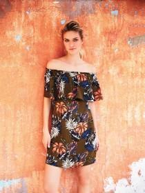 Womens Khaki Floral Bardot Dress