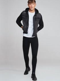 Mens Black Denim and Jersey Jacket