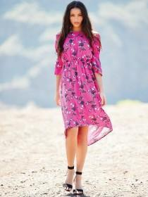Womens Pink Floral Bardot Dress