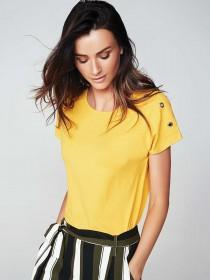 Womens Mustard Yellow Eyelet Detail T-Shirt