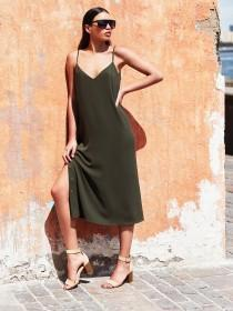 Womens Khaki Popper Slip Dress