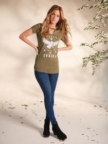Womens Khaki Slogan T-Shirt
