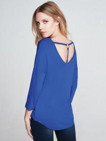 Womens Blue Ring Back 3/4 Sleeve Top