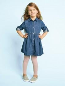 Younger Girls Blue Denim Shirt Dress